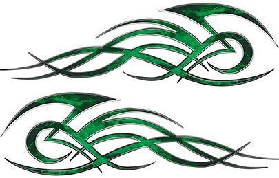 Tribal Flame Decals for Motorcycle Tanks, Cars and Trucks in Green Inferno Flames