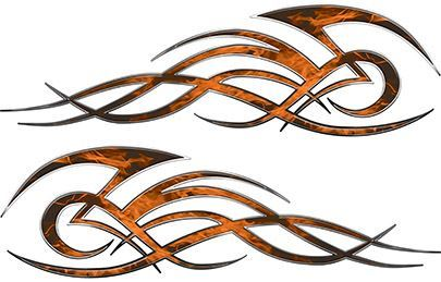 Tribal Flame Decals for Motorcycle Tanks, Cars and Trucks in Orange Inferno Flames