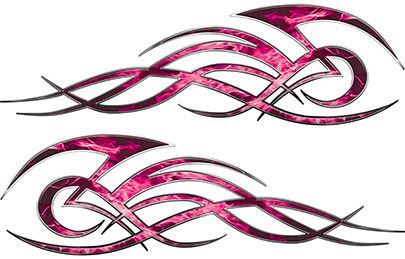 Tribal Flame Decals for Motorcycle Tanks, Cars and Trucks in Pink Inferno Flames