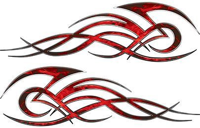 Tribal Flame Decals for Motorcycle Tanks, Cars and Trucks in Red Inferno Flames