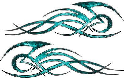Tribal Flame Decals for Motorcycle Tanks, Cars and Trucks in Teal Inferno Flames