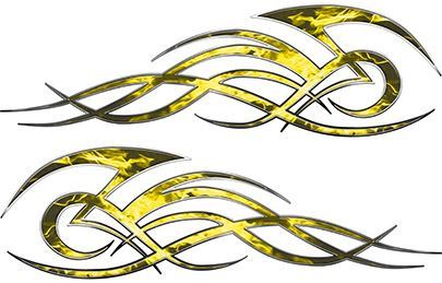 Tribal Flame Decals for Motorcycle Tanks, Cars and Trucks in Yellow Inferno Flames