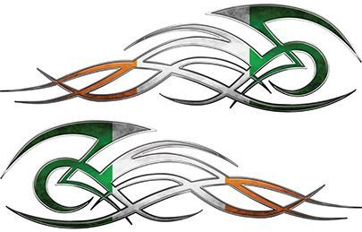 Tribal Flame Decals for Motorcycle Tanks, Cars and Trucks with Irish Flag