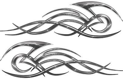 Tribal Flame Decals for Motorcycle Tanks, Cars and Trucks with Gray Lightning