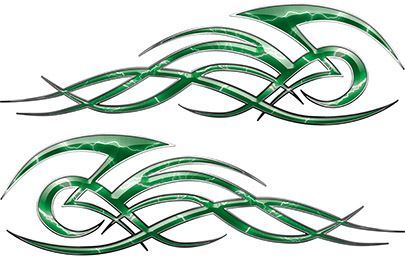 Tribal Flame Decals for Motorcycle Tanks, Cars and Trucks with Green Lightning