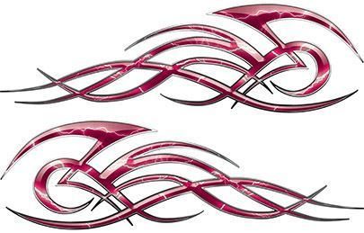 Tribal Flame Decals for Motorcycle Tanks, Cars and Trucks with Pink Lightning