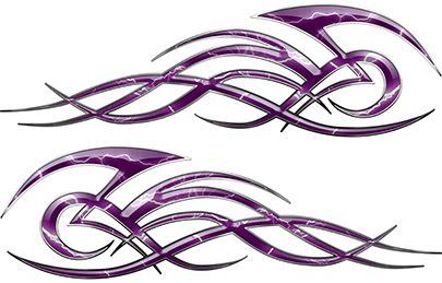 Tribal Flame Decals for Motorcycle Tanks, Cars and Trucks with Purple Lightning