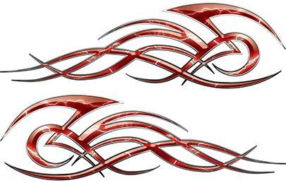 Tribal Flame Decals for Motorcycle Tanks, Cars and Trucks with Red Lightning