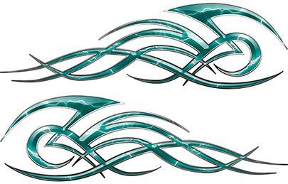 Tribal Flame Decals for Motorcycle Tanks, Cars and Trucks with Teal Lightning