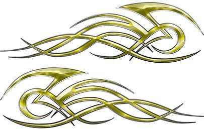Tribal Flame Decals for Motorcycle Tanks, Cars and Trucks with Yellow Lightning