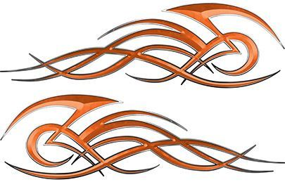 Tribal Flame Decals for Motorcycle Tanks, Cars and Trucks in Orange