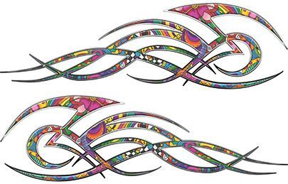 Tribal Flame Decals for Motorcycle Tanks, Cars and Trucks in Psychedelic Art