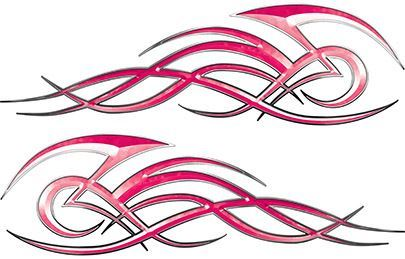 Tribal Flame Decals for Motorcycle Tanks, Cars and Trucks in Pink