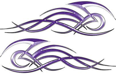 Tribal Flame Decals for Motorcycle Tanks, Cars and Trucks in Purple