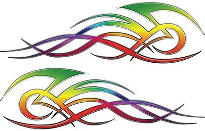 Tribal Flame Decals for Motorcycle Tanks, Cars and Trucks with Rainbow Colors
