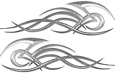 Tribal Flame Decals for Motorcycle Tanks, Cars and Trucks in Silver