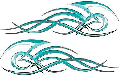 Tribal Flame Decals for Motorcycle Tanks, Cars and Trucks in Teal