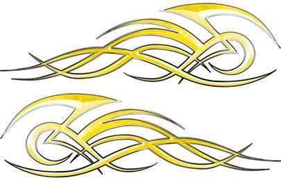 Tribal Flame Decals for Motorcycle Tanks, Cars and Trucks in Yellow