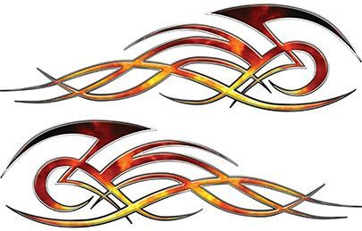 Tribal Flame Decals for Motorcycle Tanks, Cars and Trucks in Real Fire