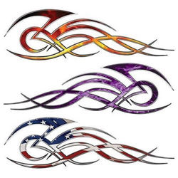 Tribal Flame Decals for Motorcycle Tanks, Cars and Trucks