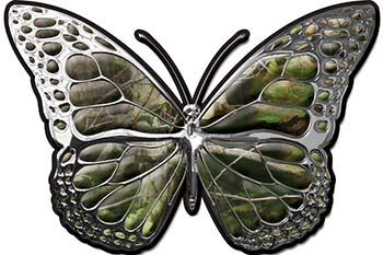 Chrome Butterfly Decal in Camouflage