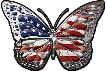 Chrome Butterfly Decal with American Flag