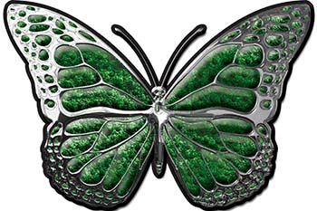 Chrome Butterfly Decal in Green