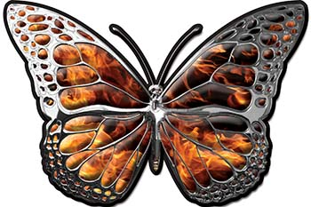 Chrome Butterfly Decal in Inferno