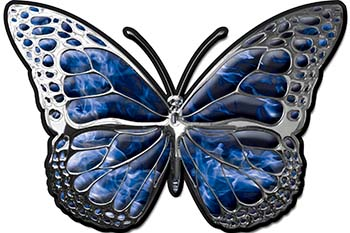 Chrome Butterfly Decal in Blue Inferno