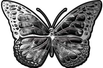 Chrome Butterfly Decal in Gray Inferno