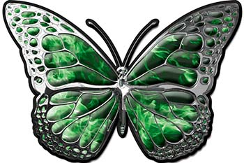 Chrome Butterfly Decal in Green Inferno