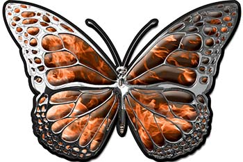 Chrome Butterfly Decal in Orange Inferno