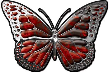 Chrome Butterfly Decal in Red Inferno