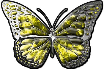 Chrome Butterfly Decal in Yellow Inferno