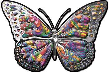 Chrome Butterfly Decal with Psychedelic Art