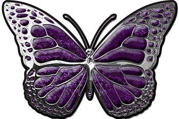 Chrome Butterfly Decal in Purple