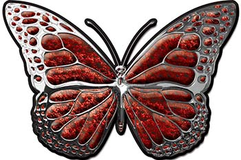 Chrome Butterfly Decal in Red