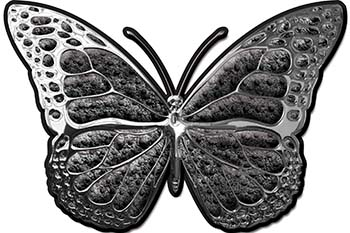 Chrome Butterfly Decal in Gray