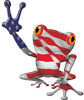 Cool Peace Frog Decal with American Flag