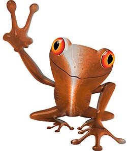 Cool Peace Frog Decal in Orange