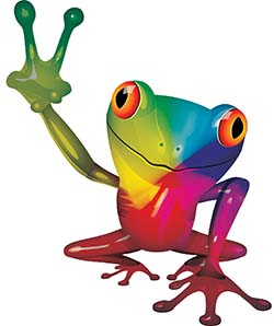 Cool Peace Frog Decal with Rainbow Colors