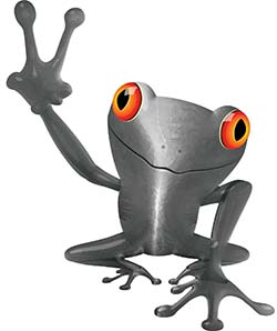 Cool Peace Frog Decal in Silver