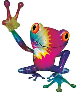 Cool Peace Frog Decal with Tie Dye Colors