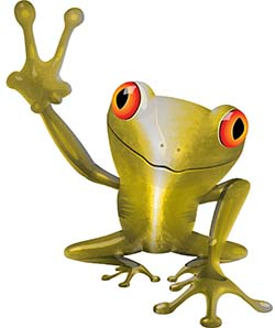 Cool Peace Frog Decal in Yellow