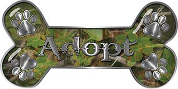 Dog Bone Animal Adoption with Paws Sticker Decal in Camouflage