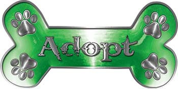 Dog Bone Animal Adoption with Paws Sticker Decal in Green