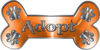 Dog Bone Animal Adoption with Paws Sticker Decal in Orange
