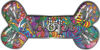 Dog Bone Animal Adoption with Paws Sticker Decal with Psychedelic Art