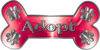 Dog Bone Animal Adoption with Paws Sticker Decal in Pink