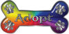 Dog Bone Animal Adoption with Paws Sticker Decal in Rainbow Colors